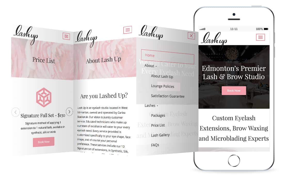 Lash Up website mockup