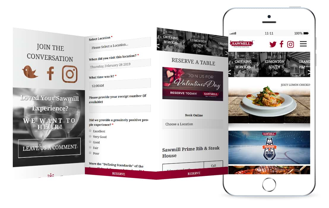 Sawmill Restaurant website mockup
