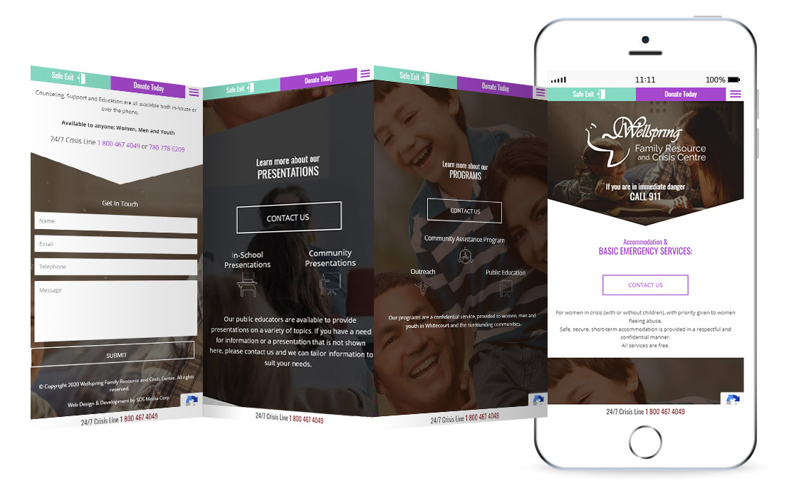 Wellspring Crisis Centre website mockup