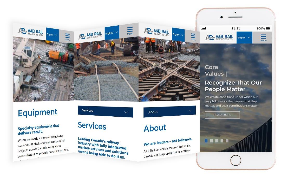 AB Rail website mockup