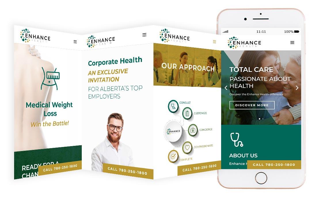 Enhance Health Medical website mockup