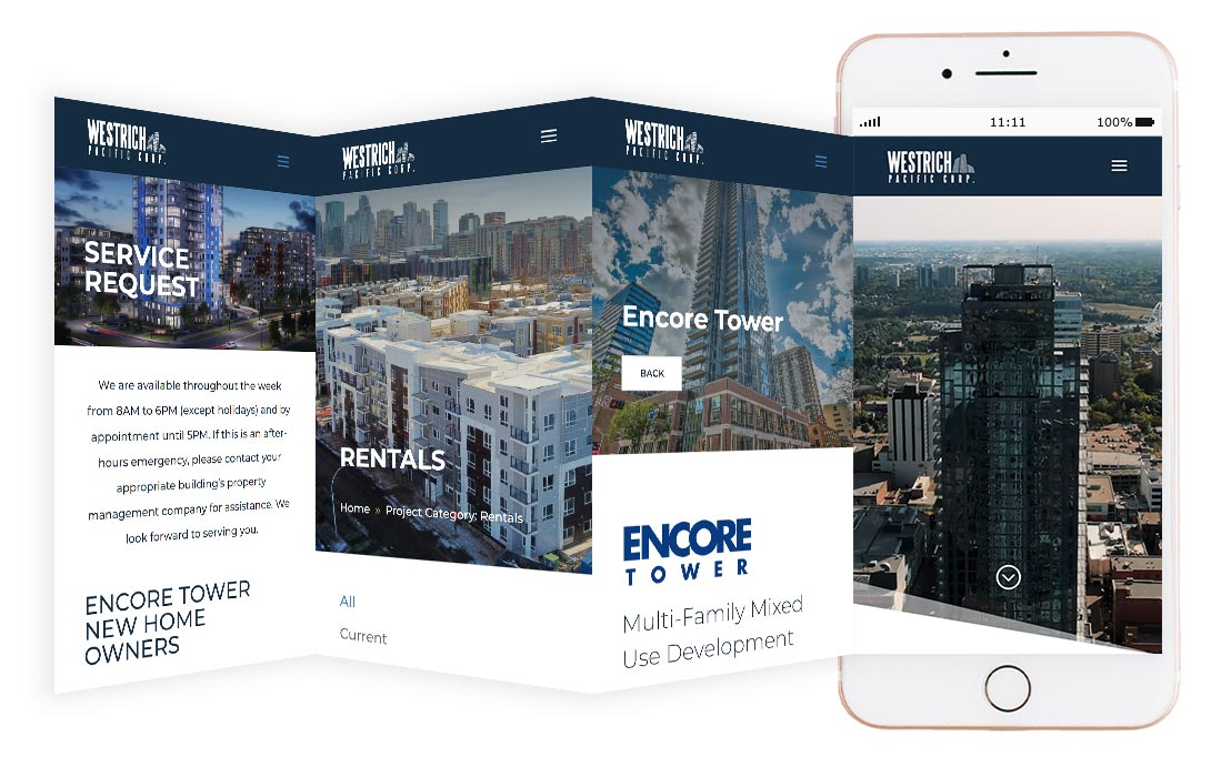 Westrich Pacific Corp website mockup