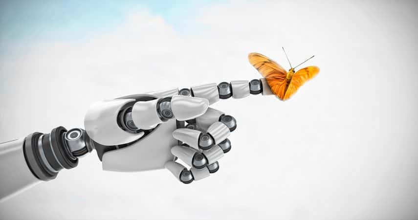 SOS Media Corp's Motion Graphics (Butterfly Perched on Robotic Hand)