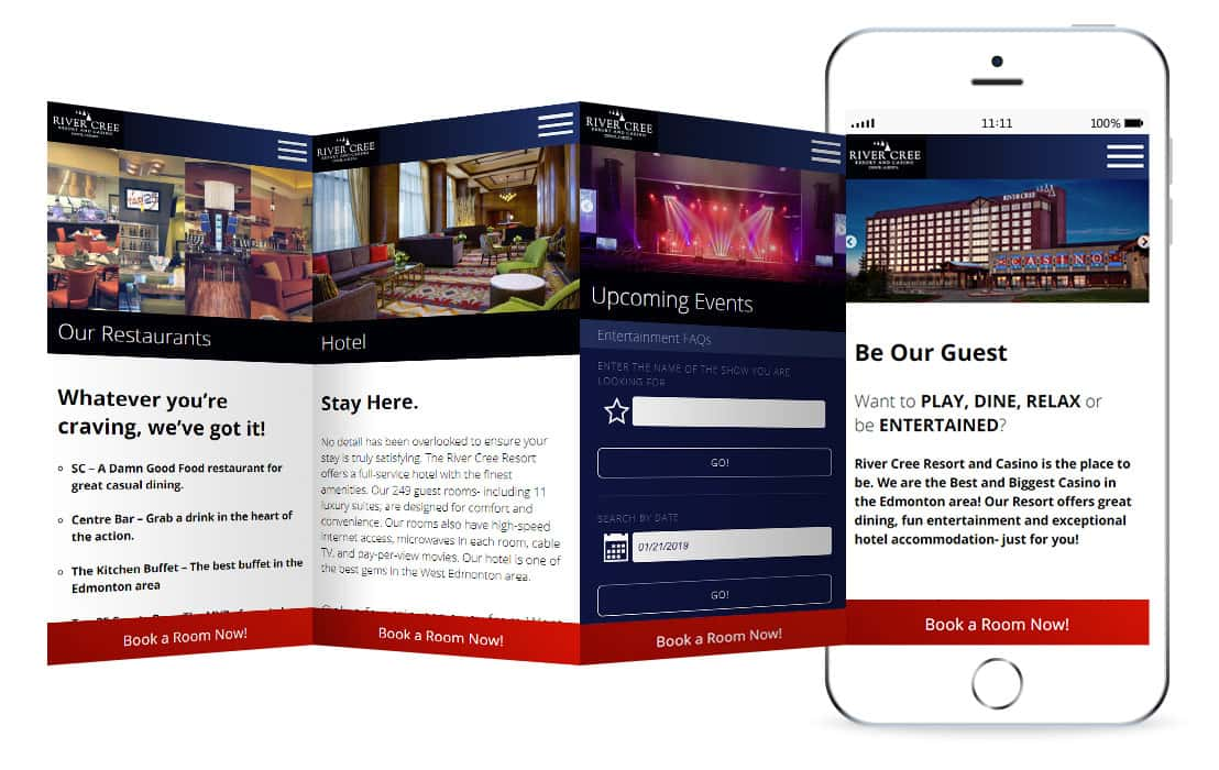 River Cree Resort & Casino website mockup